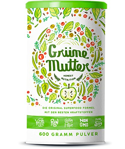 Grüne Mutter | Smoothie Pulver | Die Original Superfood Formel u.a. mit Weizengras, Brennnessel, Mariendistel, Braunalge, Alfalfa, OPC & weiteren Superfoods | Mit Coenzym Q10 | 600 Gramm
